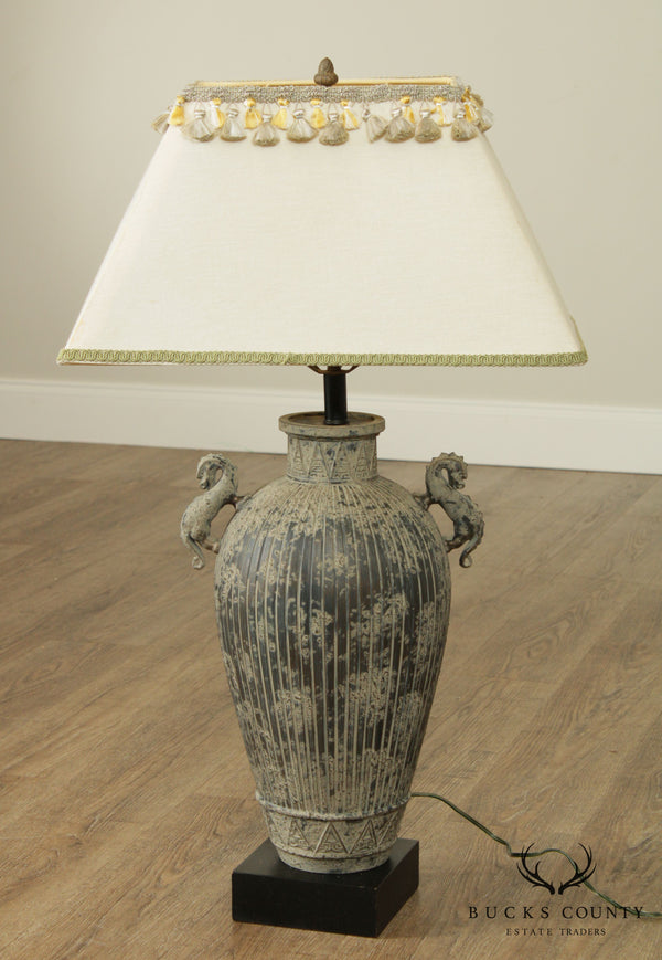 Quality Bronze Asian Style Urn Table Lamp