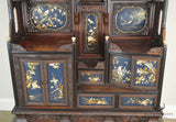 Antique Oriental Carved & Inlaid Etagere Display Cabinet