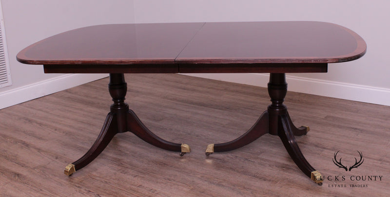 Kindel Mahogany Double Pedestal Banded Dining Table