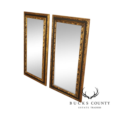 Italian Hollywood Regency Gilt Wood Black & Gold Pair Beveled Mirrors