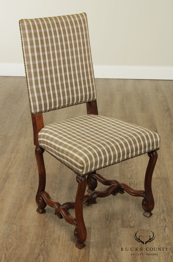 Vintage French Louis XIII Walnut OS De Mouton Side Chair