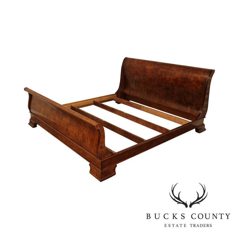 Henredon Charles X Collection King Size Burl Wood Sleigh Bed