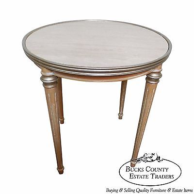 Quality Italian Regency Directoire Silver Gilt Travertine Top Round Center Table