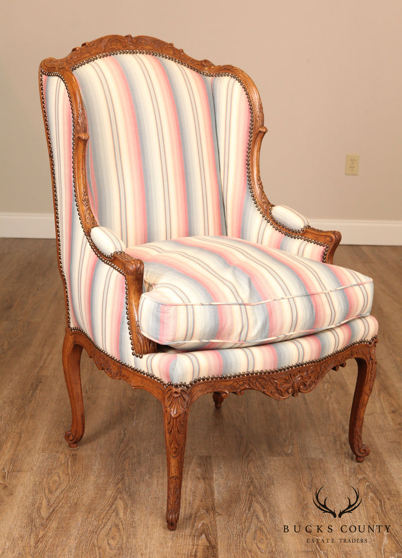 French Louis XV Custom Quality Carved Walnut Bergere Chair
