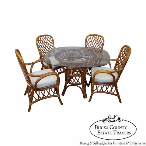 South Sea Rattan Collection Glass Top Dining Table & 4 Chair Set