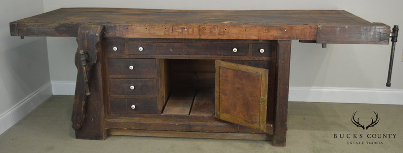 Antique Mixed Woods Carpenters Work Bench C.S. Jones