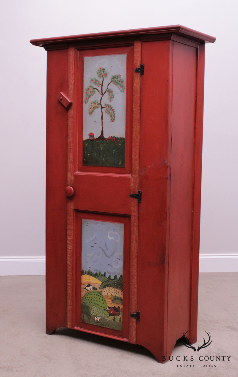 Country Folk Art Style Hand Painted One Door Cupboard