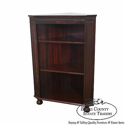 Quality Mahogany Corner Open Bookcase w/ Turned Feet