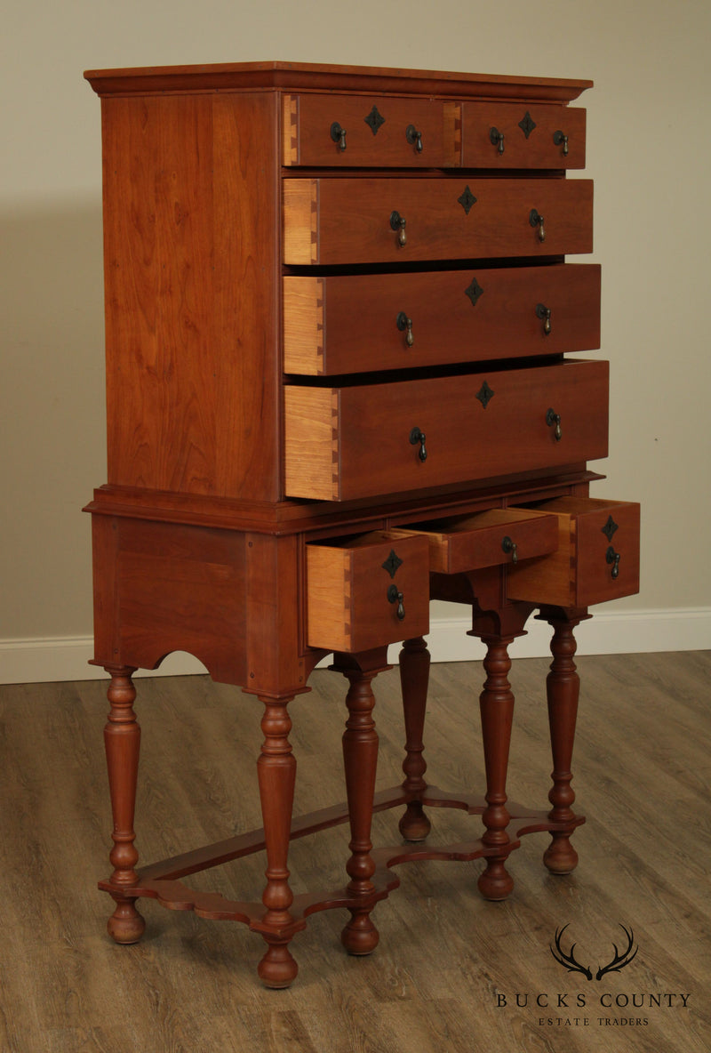 William and Mary Style Hand Crafted Solid Cherry Highboy