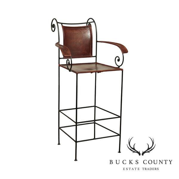 William Sheppee Scollwork Iron and Leather Barstool