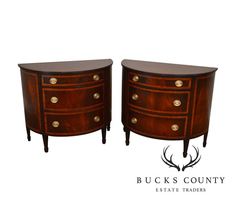 Federal Style 1940's Flame Mahogany Pair Demilune Chest of Drawers