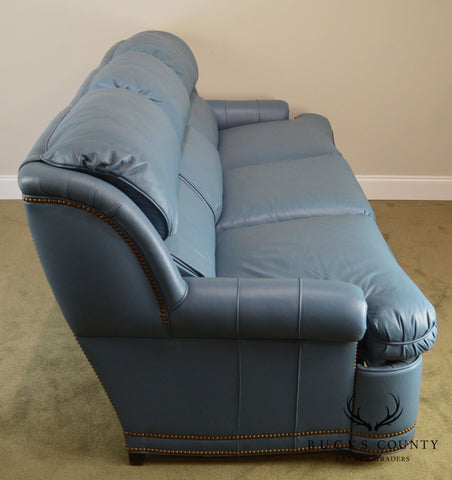 Hancock Amp Moore Light Blue Leather Motion Seating Recliner