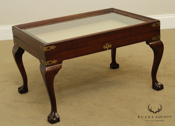 Chippendale Style Vintage Mahogany Ball & Claw Display Top Coffee Table