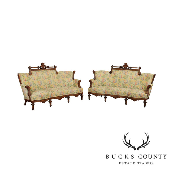 Antique Victorian Aesthetic Inlaid Walnut Pair Sofas
