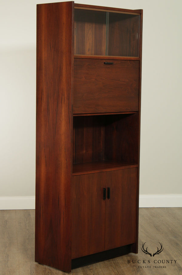 Mid Century Danish Modern Style Walnut Liquor, Bar Cabinet, Bookcase