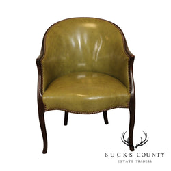 Hickory Chair Vintage Mahogany and Green Leather Tub Chair