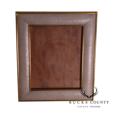 Maitland Smith Ostrich Leather and Brass Picture Frame