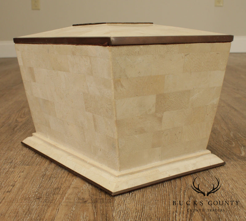 Maitland Smith Vintage Tessellated Stone & Brass Box