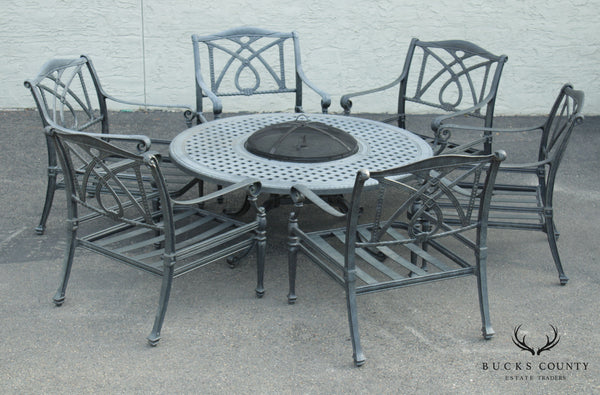 Quality Cast Aluminum Round Patio Dining Set W/ Fire Pit, Table & 6 Chairs