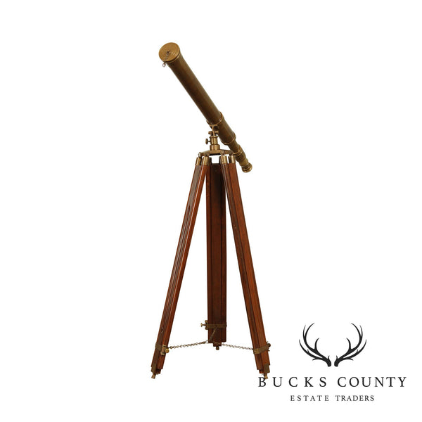 Vintage Mahogany And Brass Floor Tripod Telescope - B