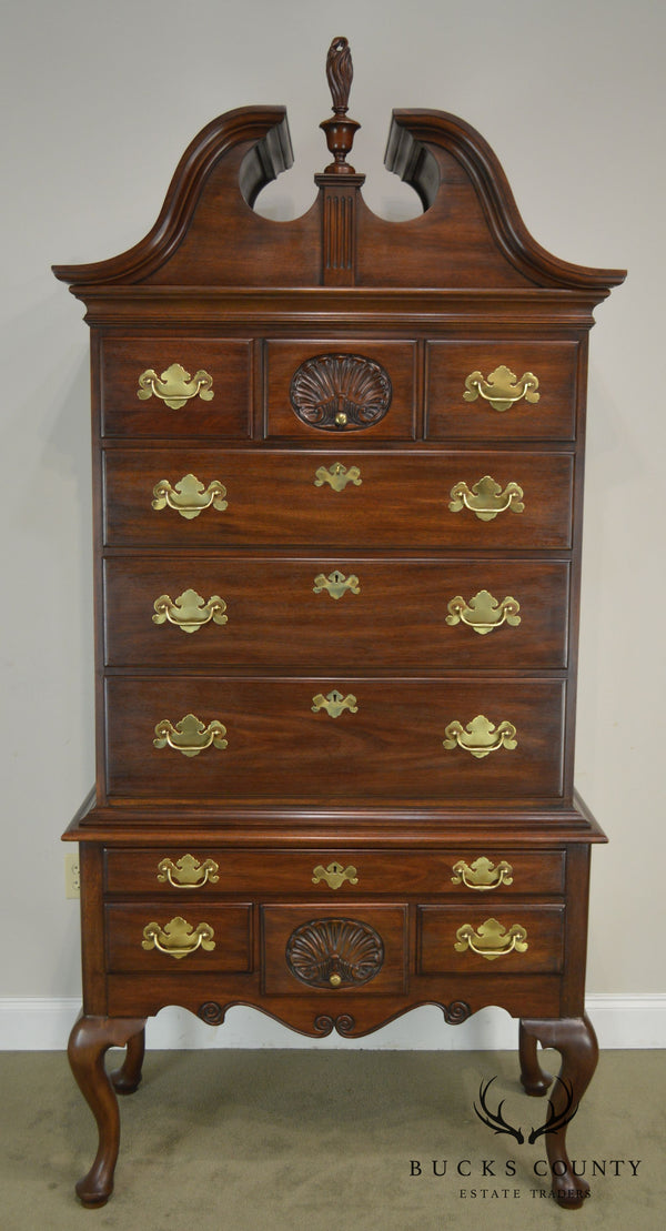 Henkel Harris Mahogany Queen Anne Philadelphia Bonnet Top Highboy