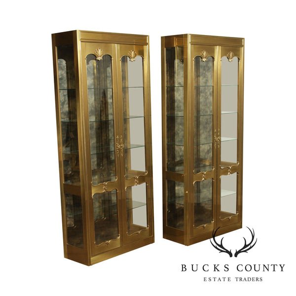 Mastercraft French Regency Style Brass Pair Curio Display Cabinets