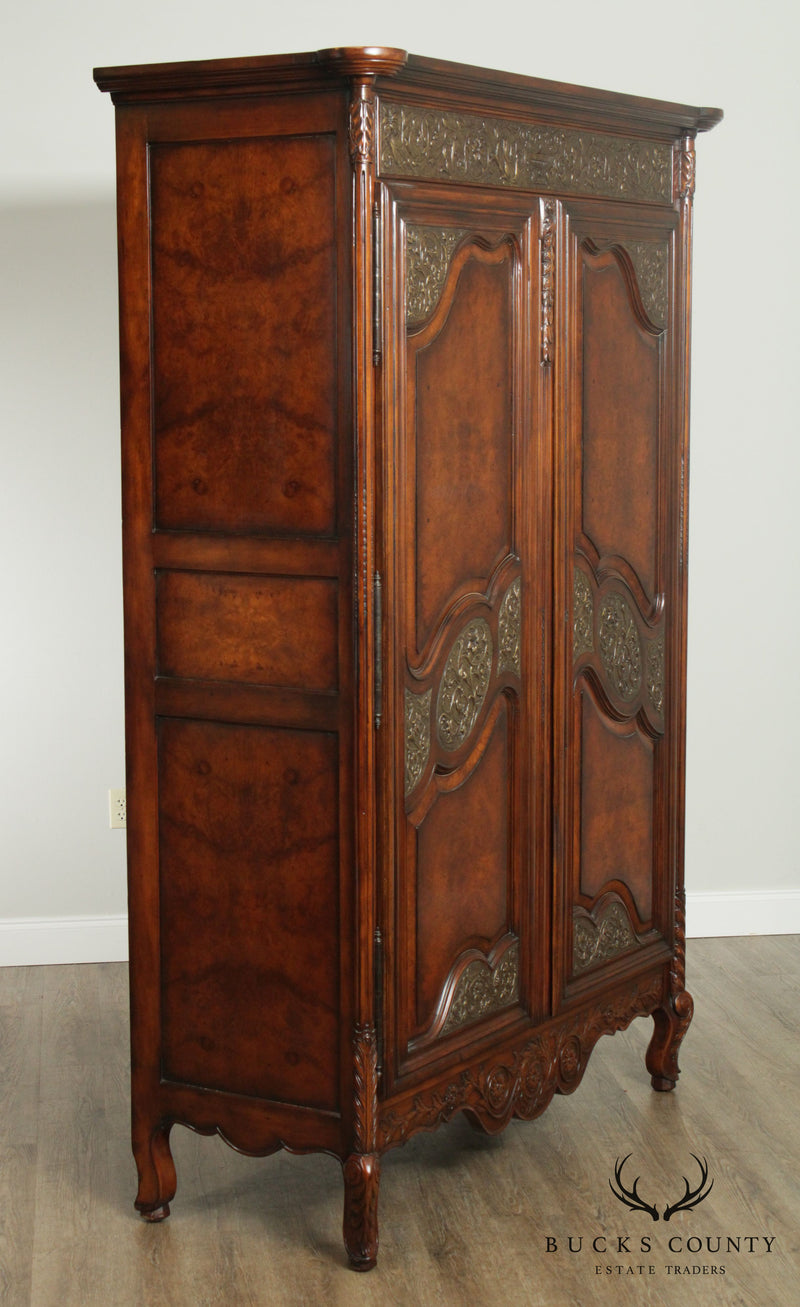 Theodore Alexander Monumental Burlwood French Louis XV Style Armoire