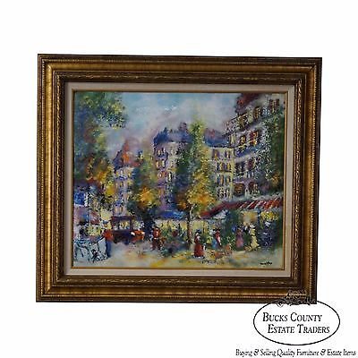 David Karp Paris Street Scene Enamel on Copper Painting