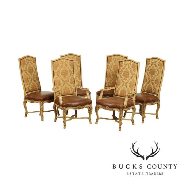 Century French Rococo Style Set 6 Carved Dining Chairs