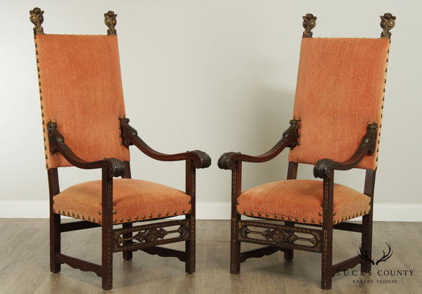 Italian Renaissance Revival Antique Pair High Back Throne Armchairs