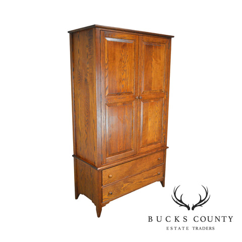 Custom Quality Large Solid Oak Traditional 2 Door Bedroom Armoire Linen Press