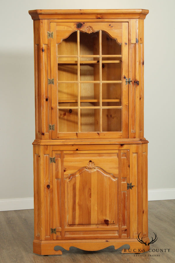 Thomasville Country French Style Vintage Pine Corner Cabinet