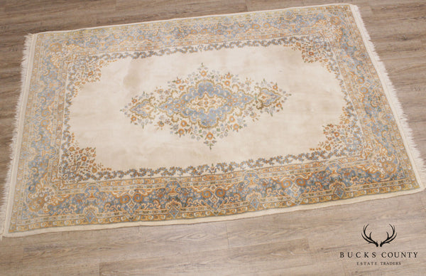 Vintage Hand Woven Ivory and Blue Kirman 5'x 9' Rug
