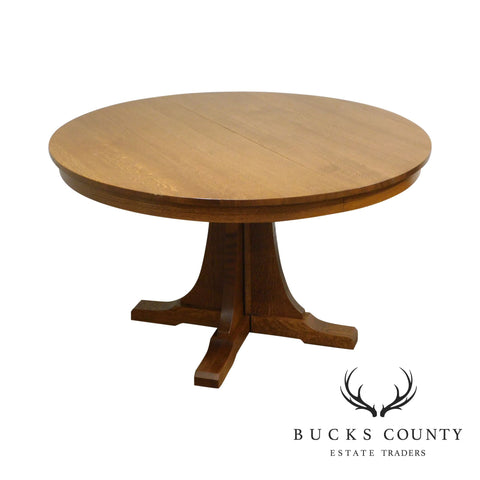 "Stickley Mission Collection Oak Expendable 52"" Round Pedestal Dining Table"
