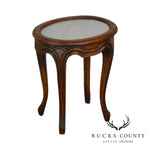 French Louis XV Style Antique Oval Marble Top Fruitwood Side Table