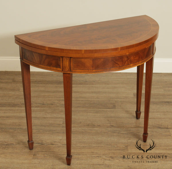 Federal Style Custom Mahogany and Yew Wood Inlaid Demilune Game Table
