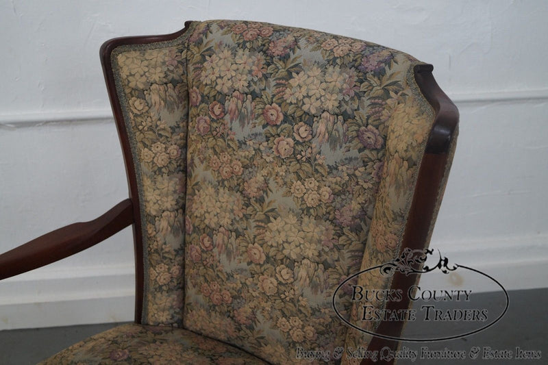 Antique Mahogany Frame High Back Library Arm Chair