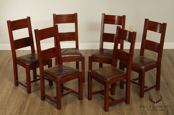 Arts and Crafts Mission Style Set 6 Horizontal Slat Back Dining Chairs
