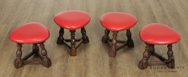 Jacobean Style Vintage Set 4 Low Oak Stools