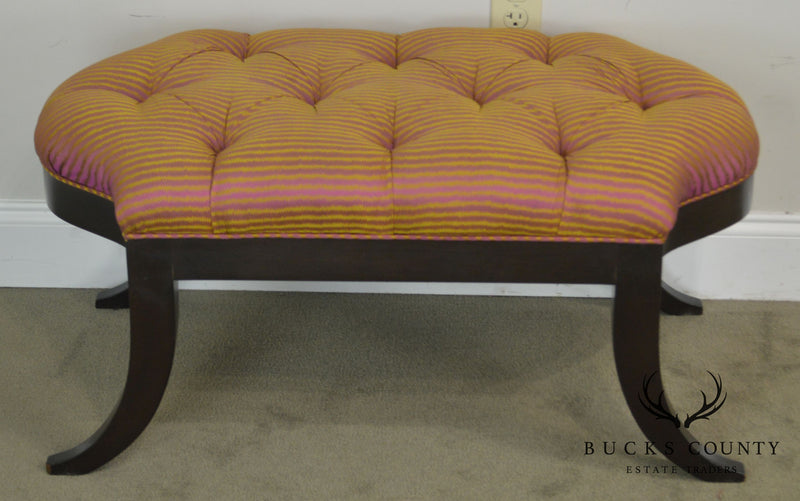 Regency Style Custom Quality Pair Tufted Benches
