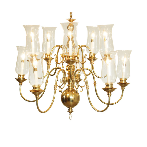 Colonial Williamsburg Style Quality 10 Light Brass Chandelier