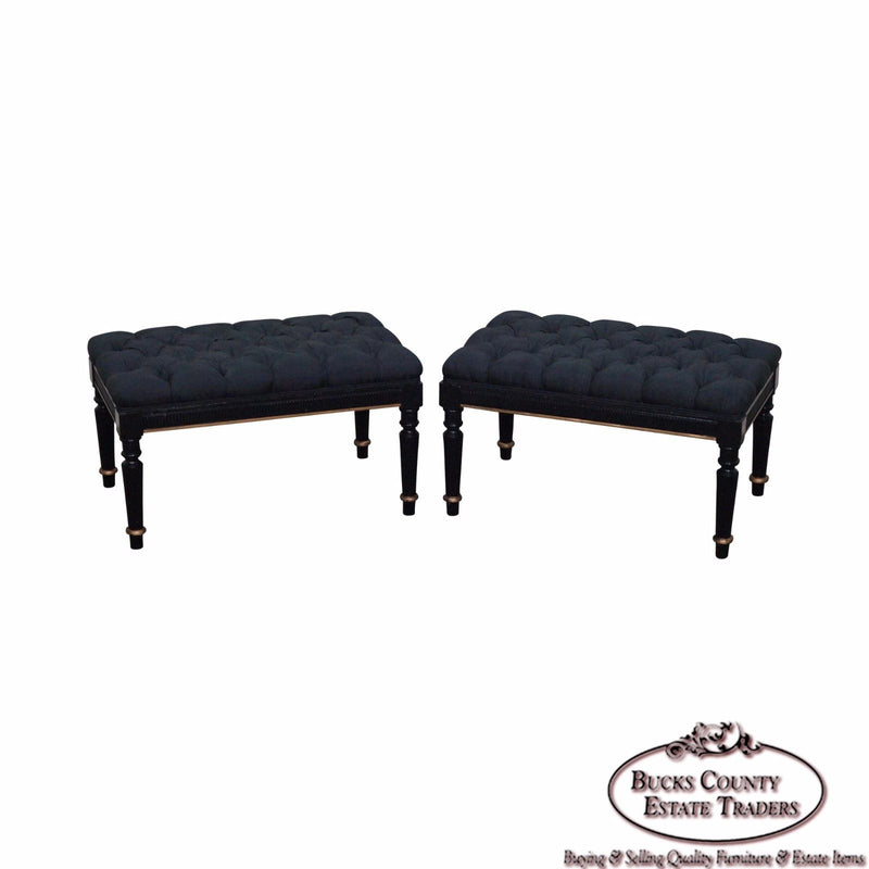Quality Pair of Regency Style Black & Gold Tufted Ottomans