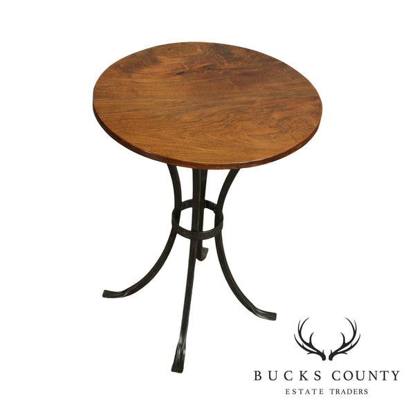 Wrought Iron Base 30 inch Round Walnut Bar Height Table