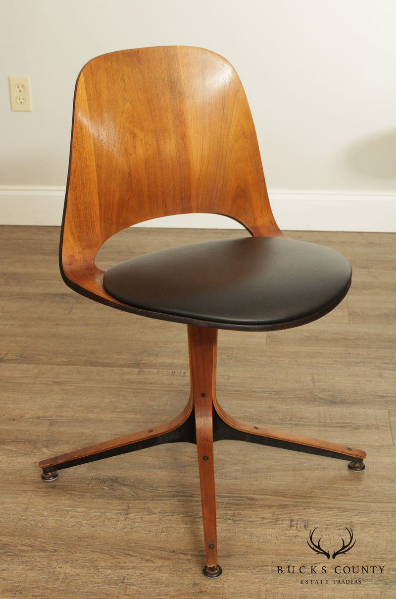 Plycraft Mid Century Modern Set 4 Walnut Swivel Chairs