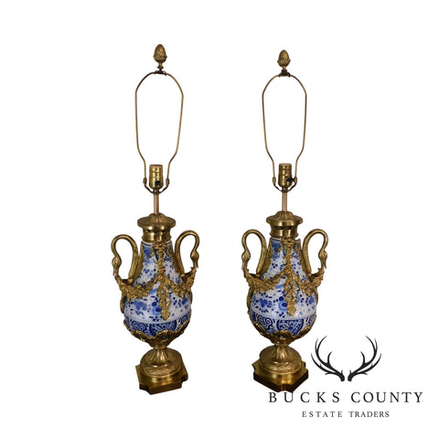 French Bronze Mounted Blue & White Porcelain Casslette Lamps with Swans
