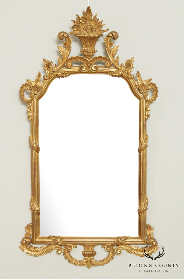 Italian Giltwood Vintage Florentine Rococo Carved Wall Mirror