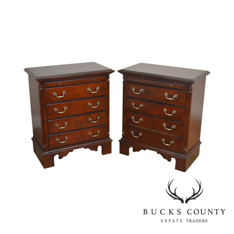 Sumter Cherry Traditional Pair 4 Drawer Nightstands Chests