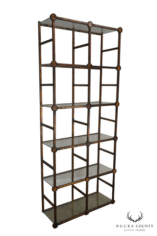 Wrought Iron & Glass Etagere