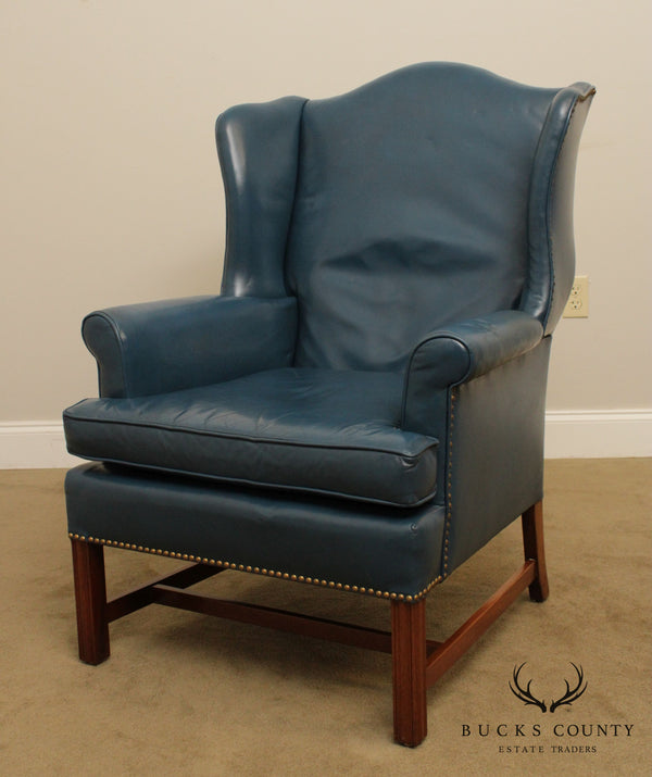 Lawsonia Chippendale Style Royal Blue Leather Vintage Wing Chair