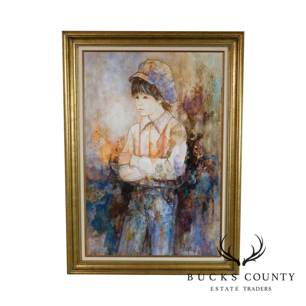 Richard Shepard Oil Painting of Boy Wearing a Newsboy Cap Signed